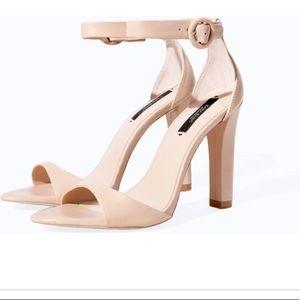 Zara Nude single strap heels